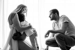 black and white family portrait backlighting maternity session