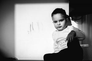 Coll little fellow black and white portrait