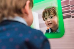 cute kid mirror portrait