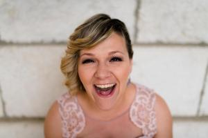 portrait of a bride happy crying