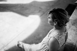 black and white bride shadows